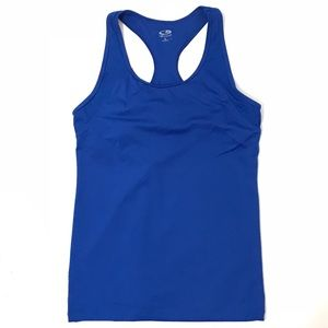 Gym Tank Top Size L 30 Blue Built in Bra Fitted To